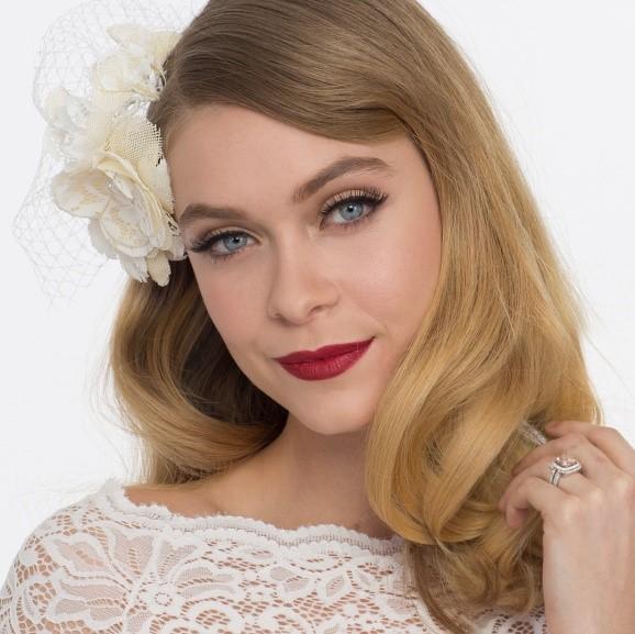 retro bride wedding day makeup